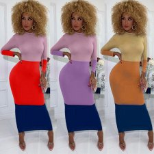 Trendy Color Splice Long Sleeve Maxi Dresses KSN-5051
