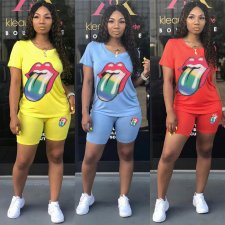 Casual Tongue Print Short Sleeve Two Piece Outfits MUM-5013