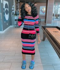 Colorful Striped Knitted Long Sleeve Bodycon Midi Dress DM-8091