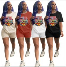 Plus Size Letter Print Casual Shorts Two Piece Outfits MUM-5024