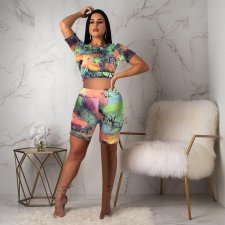 Snake Skin Print Short Sleeve Backless 2 Piece Shorts Set CXM-8039