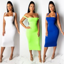 Solid Strappy Crisscross Backless Slim Midi Dresses NY-7059