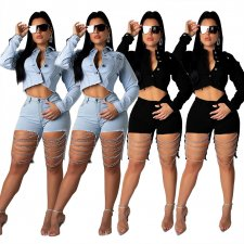 Plus Size Chain Splicing Denim Two Pieces Shorts Set ME-343