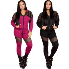 Casual Grid Patchwork Hooded Tracksuit 2 Piece Set CYA-8136