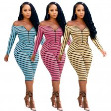 Sexy Striped Long Sleeve Two Pieces Outfits ML-7243
