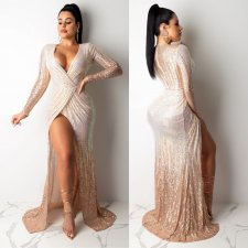 Sexy Sequins Deep V Neck High Split Maxi Evening Dress CYA-8142