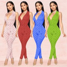 Sexy Printed V Neck Halter Backless Jumpsuits BY-3288