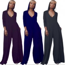Solid Hooded V Neck Long Sleeve Wide Leg Jumpsuits FNN-8300