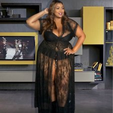 Plus Size 4XL Sexy Lace See Through Long Maxi Dress ME-5053