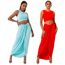 Solid Color Sleeveless Long Skirt Two Piece Sets SHE-7118