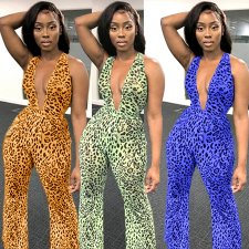 Sexy Leopard Deep V Neck Backless Mesh Jumpsuits BY-3295