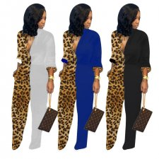 Trendy Leopard Print Patchwork Long Sleeve Jumpsuits MEM-8232