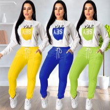 Letter Print Tracksuit Casual Sports Two Piece Sets OJS-9146