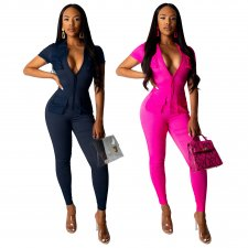 Sexy Long Sleeve Pocket Front Zipper Bodycon Jumpsuits SMR9341