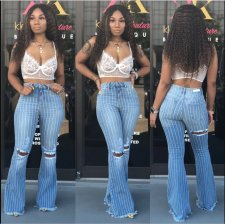 Plus Size Denim Ripped Holes High Waist Stripe Falred Jeans LA-3123