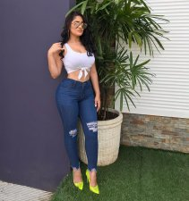 Plus Size Denim Ripped Holes Jeans Long Pencil Pants MOF-5106