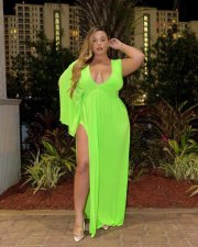 Plus Size 5XL Sexy V Neck High Split Long Maxi Dresses YIF-1046