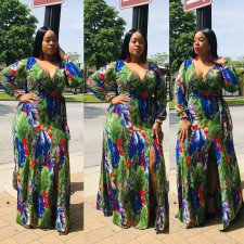 Plus Size 4XL Printed V Neck Split Long Sleeve Maxi Dress OMF-017