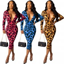 Sexy Leopard Print Deep V Neck Long Sleeve Midi Dress YIY-5105