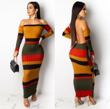 Sexy Striped Off Shoulder Backless Ribbed Knit Maxi Dress OSM-4078