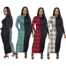 Plaid Print Patchwork Long Sleeve Maxi Dresses NM-8061