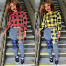 Plaid Print Long Sleeve Top And Pants 2 Piece Outfits LDS-3180
