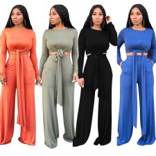 Solid Long Sleeve Tie Up Wide Leg Pants 2 Piece Suits TR-975
