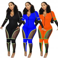 Sexy Mesh Patchwork Long Sleeve Zipper Skinny Jumpsuits YD-8120