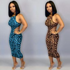 Plus Size Leopard Print Backless Strappy Bodycon Midi Dress SH-3668