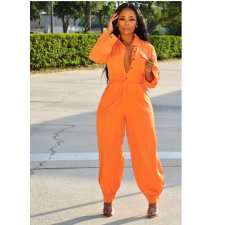 Casual Long Sleeve Button Up One Piece Jumpsuits PIN-8434