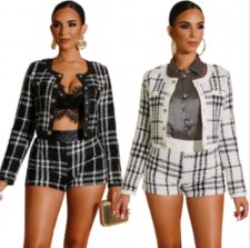 Plaid Short Jacket And Shorts Autumn Winter 2 Piece Sets ZS-0233