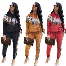 Leopard Print Patchwork Hooded Velvet 2 Piece Sets BLX-7338