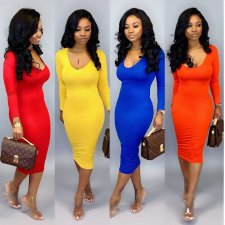Solid Long Sleeve O Neck Bodycon Midi Dresses MDO-9075