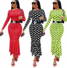 Polka Dot Print Long Sleeve Slim Mermaid Maxi Dresses YMT-6098
