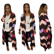 Geometric Print Long Sleeve Loose Maxi Cardigan Coats SHE-7120