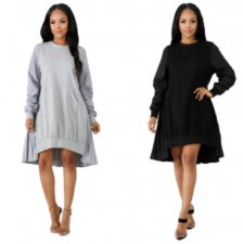 Casual Long Sleeve Pleated Loose Sweatshirt Dresses MDO-9072