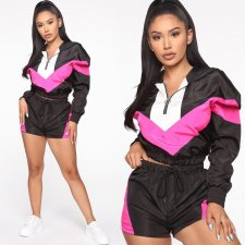 Casual Patchwork Hooded Tracksuit Two Piece Suits YMT-6103