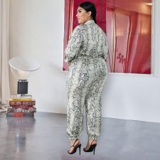 Big Size 4XL Snake Skin Print Long Sleeve Jumpsuits ME-5068