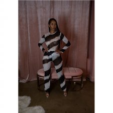 Sexy Striped Long Sleeve Top And Pants Bodycon Sets YF-9515