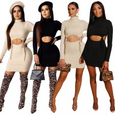 Solid Turtleneck Long Sleeve Mini Skirt Two Piece Sets ASL-6208
