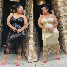 Plus Size 5XL Sequin Tassel Spaghetti Strap Club Dress YIF-1069
