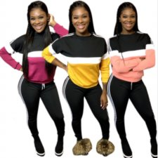 Plus Size Patchwork Long Sleeve Sweatpants 2 Piece Sets PIN-8442