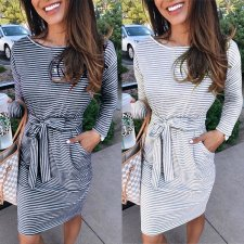 Casual Striped Print Long Sleeve Knee Length Dresses NY-8850