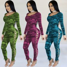 Sexy Camo Print Hollow Out Long Sleeve Skinny Jumpsuits AL-135