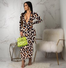 Leopard Print Long Sleeve Zipper Long Maxi Dresses YLY-2350