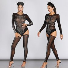 Sexy Mesh See Through Rhinestone Bodysuit With Stockings BY-3311