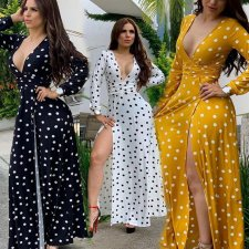 Polka Dot Print Deep V High Split Long Maxi Dresses KSN-5067