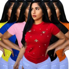 Plus Size Peral Butterfly Decoration T Shirt PIN-8291-1