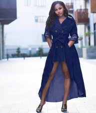 Trendy Notched Neck High Low Irregular Denim Dress HM-6157