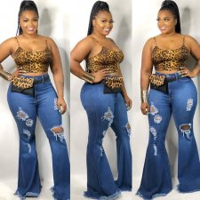 Fashion Denim Ripped Hole Jeans Long Flared Pants CH-8070
